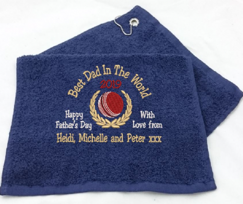 Cricket Towel Ball with Crest design Fathers Day.